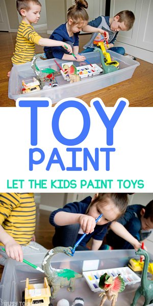 PAINT THE TOYS: A fun and easy activity for kids stuck at home; an easy indoor activity; art activity for toddlers, preschoolers, and kindergarteners from Busy Toddler