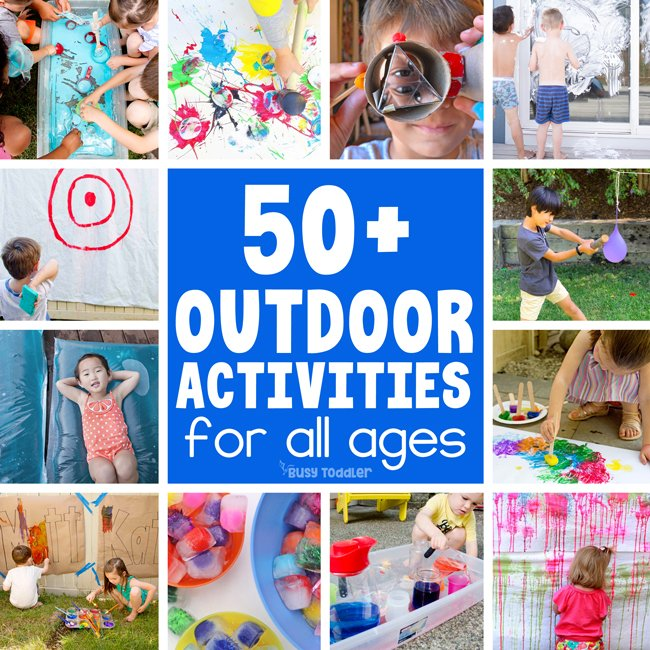 OUTDOOR ACTIVITIES FOR KIDS: Looking for the best (and easiest) outside activities for kids? Check out this great list for all ages of kids with ideas for the summer, backyard, and outdoor fun. A fun list of easy activities for kids to do at home from Busy Toddler
