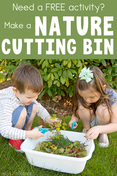 Nature Cutting Bin: A Fun and easy way to introduce scissors and cutting to young children; a great cutting practice activity; an outdoor science activity for kids from Busy Toddler