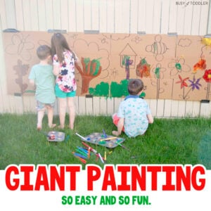 GIANT PAINTING ART PROJECT: A quick and easy art project for kids in the summer time - create a fun outdoor activity for kids of all ages with a quick art activity; a fun way to pass the time in the sumemr from Busy Toddler