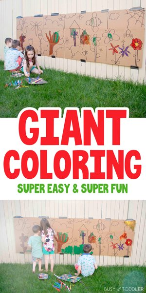 GIANT PAINTING ART PROJECT: A quick and easy art project for kids in the summer time - create a fun outdoor activity for kids of all ages with a quick art activity; a fun way to pass the time in the summer from Busy Toddler