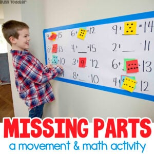 MISSING PARTS: A movement and math activity from Busy Toddler - a first grade common core math activity; an indoor math activity using post-it notes