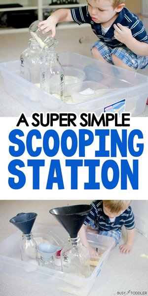 A SCOOPING STATION: Create a fun sensory experience for your toddler with this easy activity scooping and pouring different materials (from Busy Toddler)