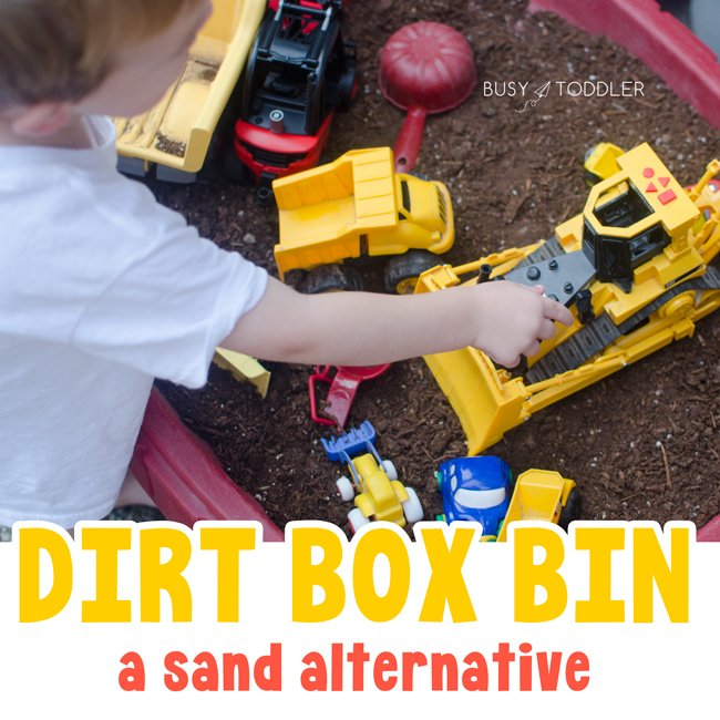 DIRT BOX: A quick and easy outdoor sensory bin for kids - a sand box alternative for toddlers - a fun summer activity from Busy Toddler
