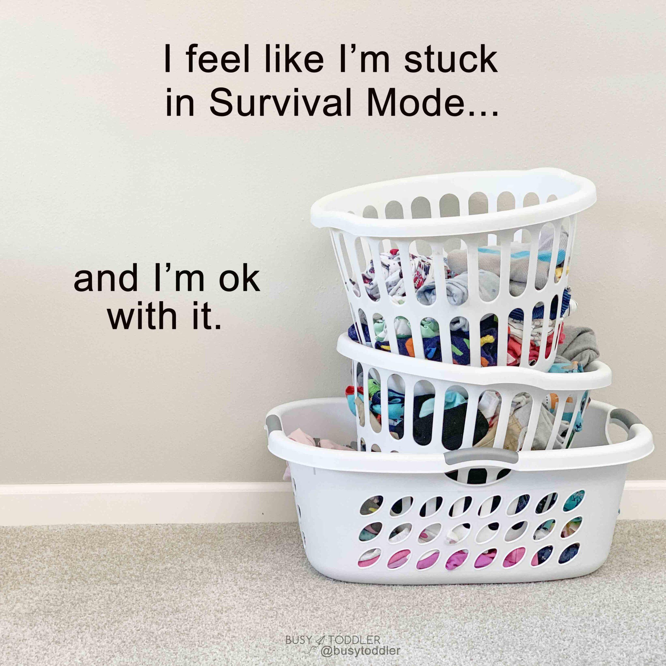 A laundry basket and text describing surival mode