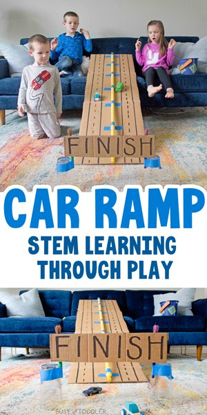 CAR RAMP:  A quick and easy STEM activity for kids of all ages. Build a ramp from cardboard to drive cars down - an easy indoor activity, rainy day activity. A STEM activity that teaches through play from Busy Toddler