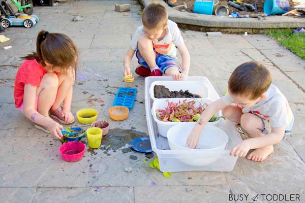 A mud kitchen activity for kids