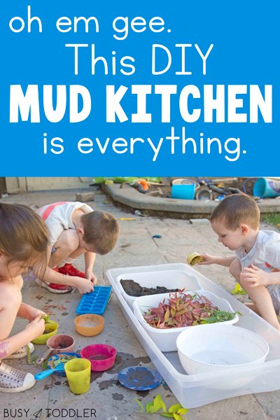 DIY MUD KITCHEN: A fun and easy sensory activity that's perfect for all ages. A simple outdoor activity for kids - this is the best activity for kids in the summer time from Busy Toddler
