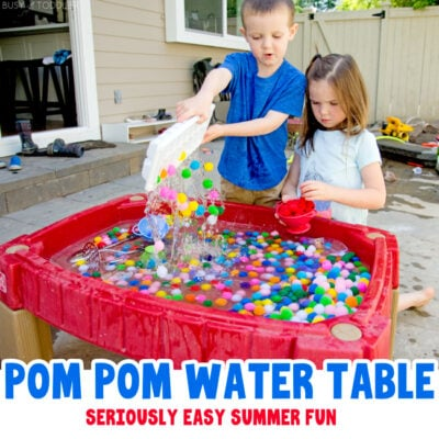 POM POM WATER TABLE: A quick and easy outdoor activity for kids; a summer sensory activity with water and pom pom balls; pom pom ball activity from Busy Toddler