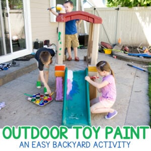 OUTDOOR TOY PAINT: An amazing summer activity for kids! Let kids paint their outdoor toys in this quick, easy, and free activity from Busy Toddler. A multi-age activity that works for so many kids!!!