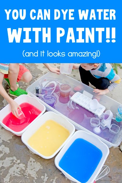 PAINT DYED WATER: This may be the coolest sensory activity we've done in a while. You can dye water with paint and it is AMAZING. A quick outdoor activity for kids - a fun sensory activity. A lifetime activity learning to scoop and pour water from Busy Toddler