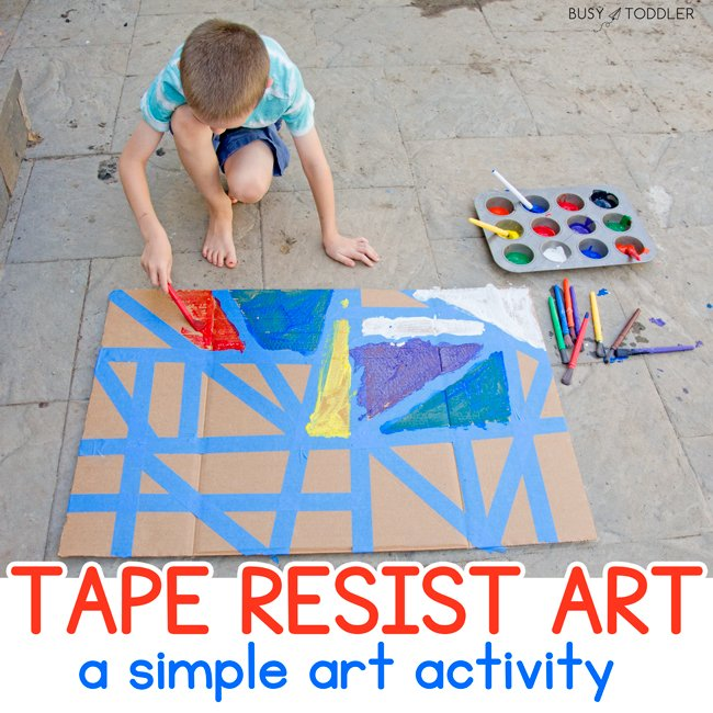 TAPE RESIST ART:  A quick and easy kids activity - kids love this fun way to paint. Make a tape resist activity for kids of any age. A fantastic kids activity from Busy Toddler