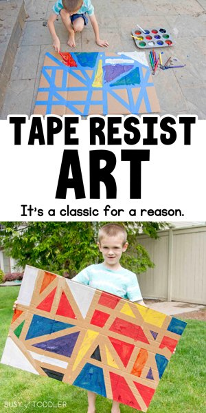 Check out this amazing TAPE RESIST ART activity - it's a perfect activity for all kids from Busy Toddler.
