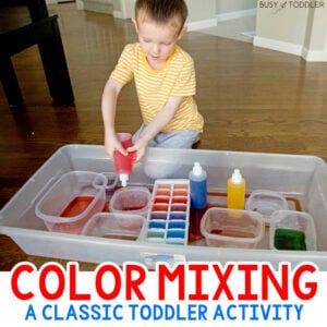 COLOR MIXING: A quick and easy toddler activity using peri bottles. This fun indoor activity is perfect for toddlers and preschoolers on a rainy day (from Busy Toddler)