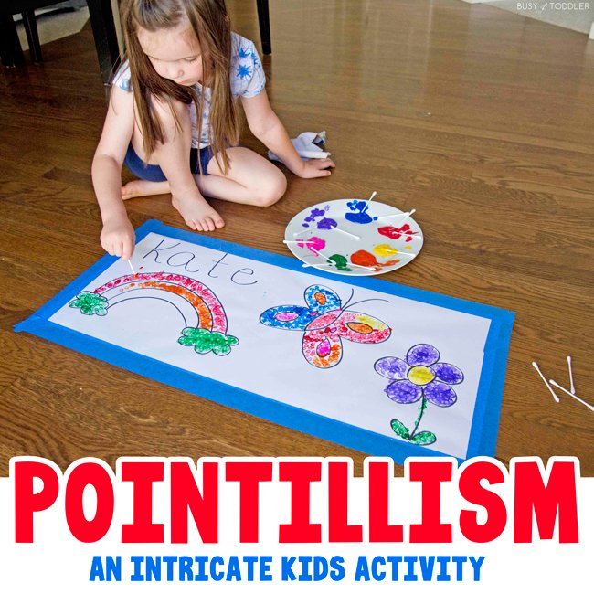 POINTILLISM ART ACTIVITY: Need a meticulous art activity to hold kid attention? Try pointillism! This super fun indoor activity is a great boredom buster for big kids - a quick and easy way to entertain kids from Busy Toddler