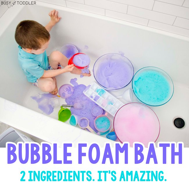 BUBBLE FOAM BATH ACTIVITY: Have you made bubble foam yet? It is THE BEST. Just 2 ingredients to make a whole lot of fun. Try this easy indoor activity for toddlers and preschoolers. A perfect sensory activity for kids from Busy Toddler.