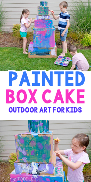 Painted Box Cake: A quick and easy kids activity; outdoor art for kids; a process art activity for toddlers, preschoolers, and school-aged kids from Busy Toddler