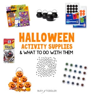 HALLOWEEN ACTIVITY SUPPLIES: What are the best supplies to have for Halloween activities? Check out this great list with activity ideas too from Busy Toddler