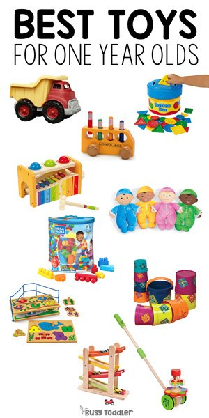BEST TOYS FOR 1 YEAR OLDS: Check out this amazing list of the best toys for one year olds. A fantastic list of toys to help one year olds play from Busy Toddler