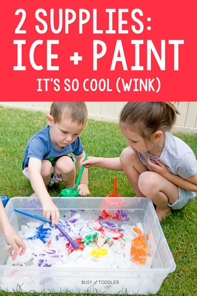 Kids painting ice in a quick and easy activity from Busy Toddler