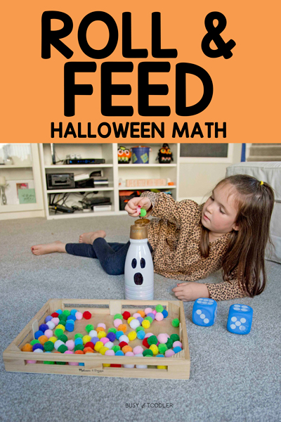 GHOST ROLL & FEED: An amazing Halloween math activity that works for 3 ages of kids. Try this as a number recognition activity, addition activity and subtraction activity. A quick and easy learning activity from Busy Toddler