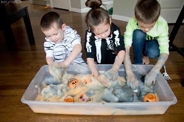 Kids playing with Halloween foam