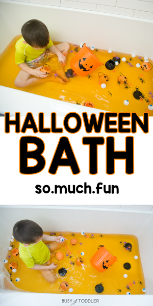 HALLOWEEN BATH ACTIVITY FOR TODDLERS - What a fun activity for toddlers! This is the best activity for toddlers and preschoolers to start Halloween! A Halloween sensory activity that's perfect for all kids from Busy Toddler