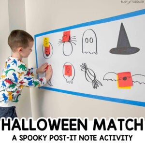 HALLOWEEN POST-IT MATCH: A quick and easy Halloween activities for toddlers, preschoolers, and big kids. A Halloween hide-and-seek game for kids to play. An easy indoor Halloween Activity from Busy Toddler