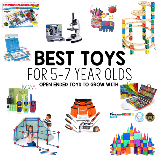 BEST TOYS FOR 5 YEAR OLDS: What are the best toys for ages 5-7 years old? Come check out this NO ELECTRONICS list. Simple and basic toys perfect for big kids!