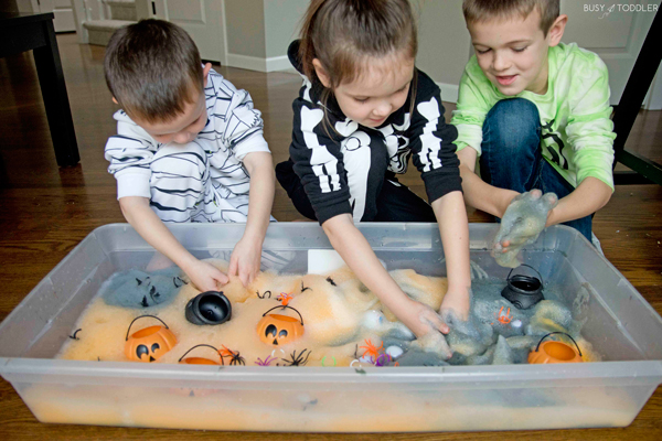 Kids playing with Halloween foam