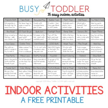 Easy Indoor Activity List for Kids