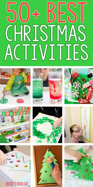 50+ Easy Toddler Christmas Activities: From Busy Toddler, a list of 50+ activities perfect for celebrating Christmas with a toddler - art, science, stem, sensory, and fine motor activities for toddlers