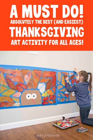 TURKEY TAPE RESIST ART ACTIVITY: Officially the coolest Thanksgiving activity - check out this amazing turkey art activity for toddlers, preschoolers, and big kids. What a fun process art activity to get ready for Thanksgiving from Busy Toddler.