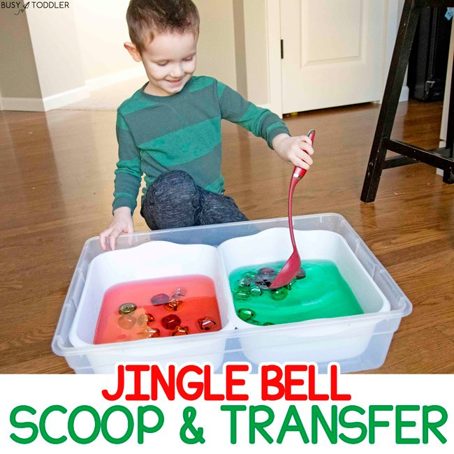 JINGLE BELL SCOOP & TRANSFER: A quick and easy toddler Christmas activity using Dollar Store supplies; a fun rainy day Christmas activity ta