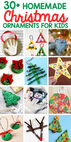 HOMEMADE CHRISTMAS ORNAMENTS FOR KIDS: Check out this list of great homemade ornaments for kids to give as gifts from Busy Toddler
