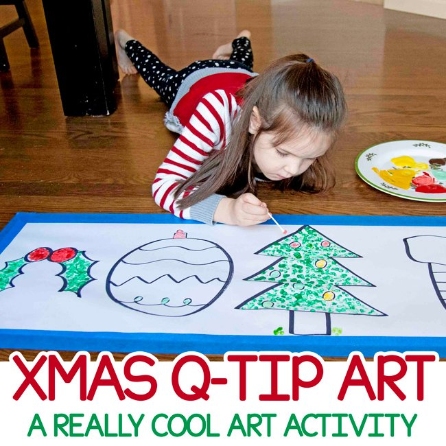 CHRISTMAS Q-TIP PAINTING: A great holiday art activity for kids that is so much fun (and so intricate!). This fine motor art activity is such a great way to paint in the holidays - from Busy Toddler
