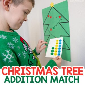 CHRISTMAS TREE ADDITION MATCH: Looking for a fun Holiday activity for big kids? Practice addition skills in a hands-on, play based way with this fun activity from Busy Toddler