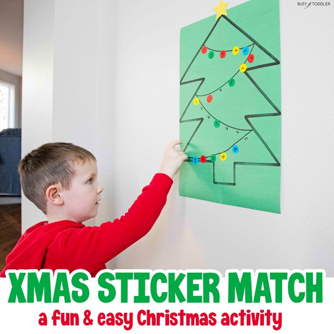 Christmas Tree Number Match - A Busy Toddler Christmas activity using dot stickers!!! Decorate the tree in numerical order in this quick and easy math activity for preschoolers.