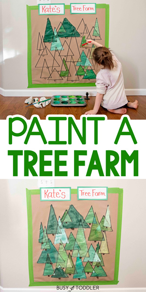 PAINT A CHRISTMAS TREE FARM ACTIVITY: Paint a tree farm! This is a perfect Christmas art activity for ages 4+. What a great art activity and math activity - celebrating Christmas and Triangles - from Busy Toddler