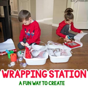 "WRAPPING STATION CHRISTMAS ACTIVITY - Such a sweet activity for kids: let kids wrap up ""gifts"" from around the house in recycled wrapping paper reminents. The sweetest activity for siblings- Busy Toddler"