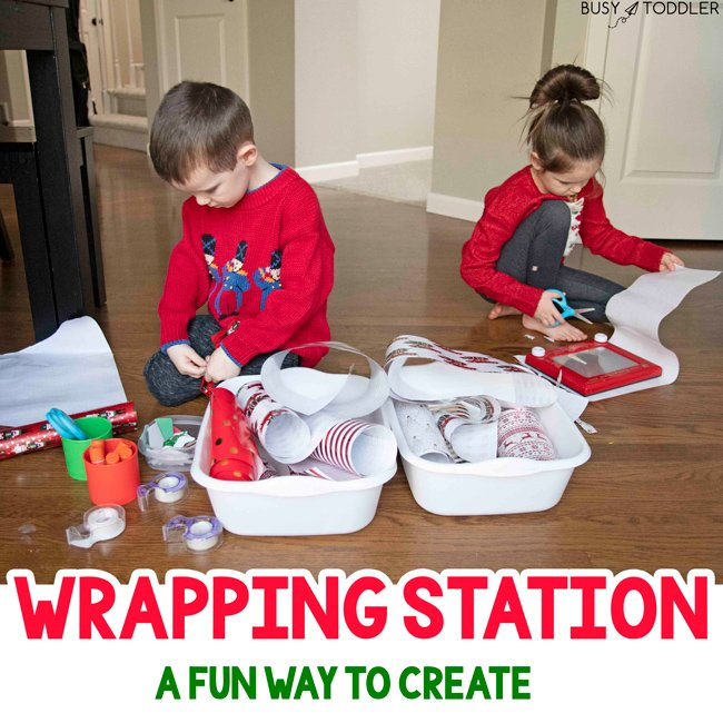 "WRAPPING STATION CHRISTMAS ACTIVITY - Such a sweet activity for kids: let kids wrap up ""gifts"" from around the house in recycled wrapping paper remnants. The sweetest activity for siblings-  Busy Toddler"
