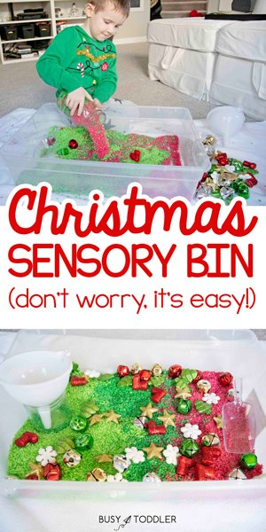 CHRISTMAS SENSORY BIN: A quick and easy Christmas sensory activity using dyed riced and dollar store supplies - a fun activity from Busy Toddler