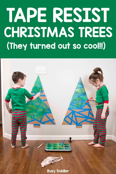 Tape Resist Christmas Tree Art Activity: A Busy Toddler Tape Resist holiday art activity. Make these fun tape resist trees for Christmas time - a great activity for ALL AGES from Busy Toddler.