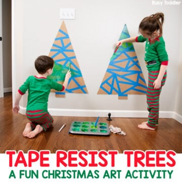 Tape Resist Christmas Tree Art Activity