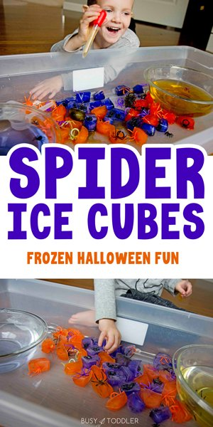 SPIDER ICE HALLOWEEN ACTIVITY:A fun, spooky spider activity for toddlers and preschoolers. A color changing / science activity with a sensory twist for kids to play at Halloween - from Busy Toddler