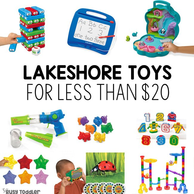 LAKESHORE TOYS FOR UNDER $20: What are the best toys at Lakeshore learning for under $20? Check out this fantastic list from Busy Toddler.