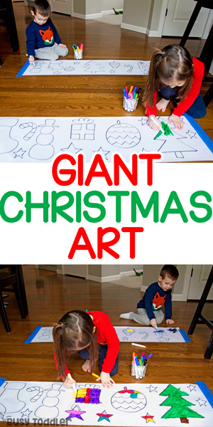 GIANT CHRISTMAS ART ACTIVITY:  A quick and easy Christmas art activity for toddlers and preschoolers. Such an easy, fun activity for all kids to try. The perfect rainy-day Christmas activity for kids from Busy Toddler