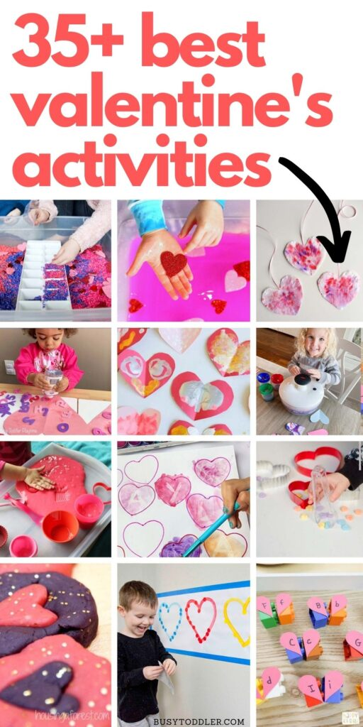 EASY VALENTINE'S DAY ACTIVITIES FOR TODDLERS: An awesome list of Valentine's Day activities; arts and craft valentines; valentines sensory play from Busy Toddler