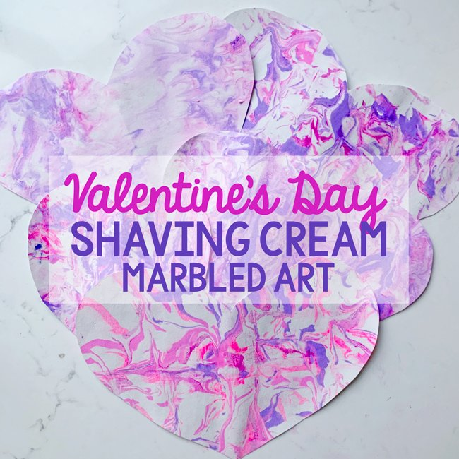 SHAVING CREAM MARBLED HEARTS FOR VALENTINE'S DAY: A fun and messy art activity with a Valentine's day twist. A great way to make Valentine's for friends - from Busy Toddler