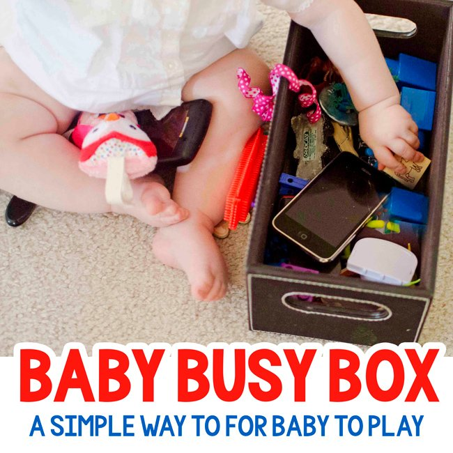 BUSY BOX: An easy baby activity!! Make a baby safe busy box for your baby to play with - by Busy Toddler